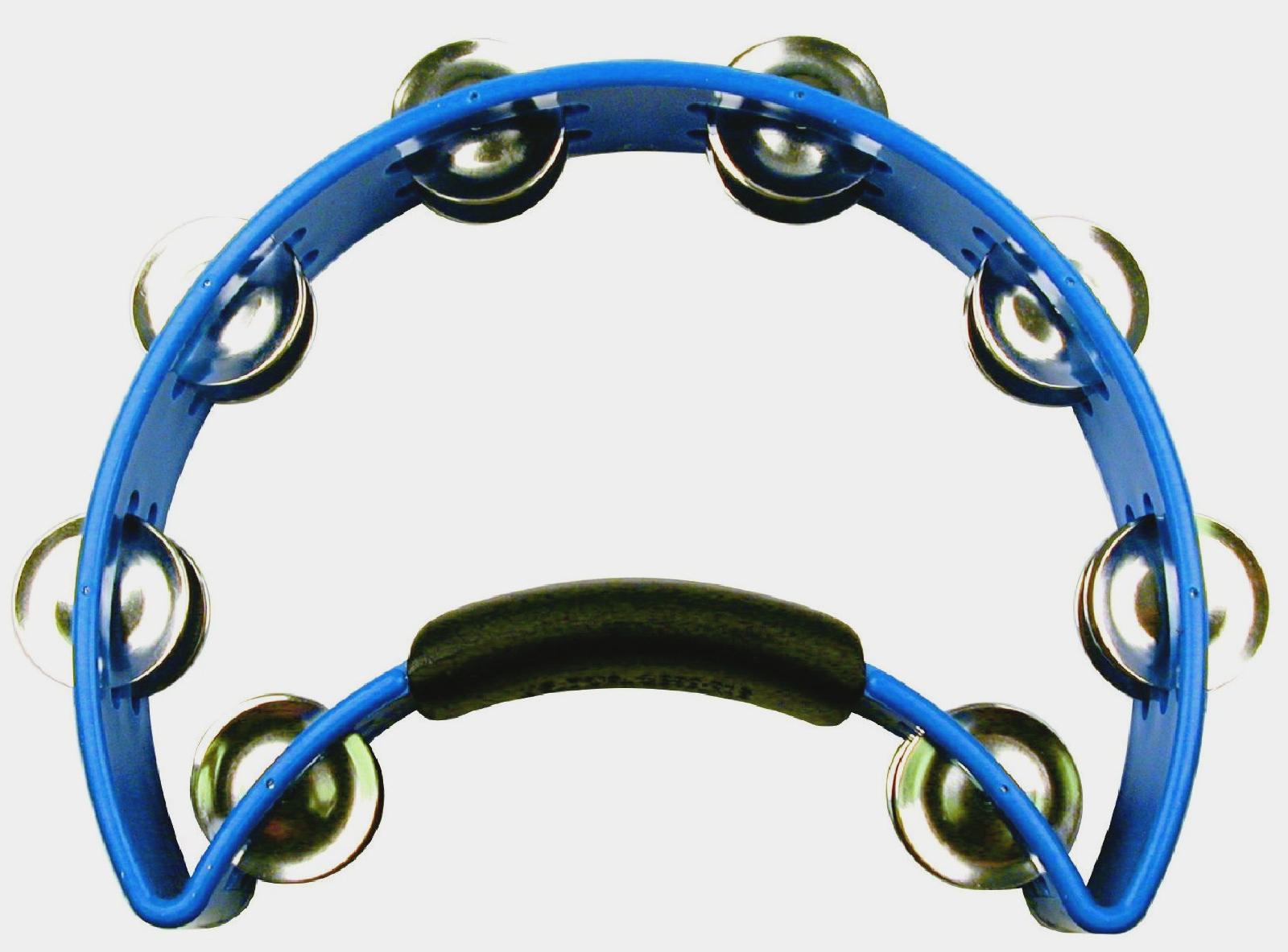 Blue Nickel Tambourine with Nickel Steel Jingles