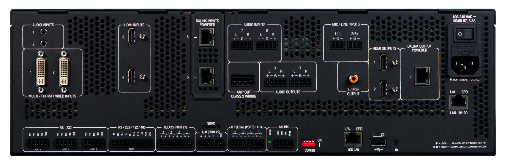 2x25W 8-Ohm 6x3 All-In-One Presentation Switcher with NX Control