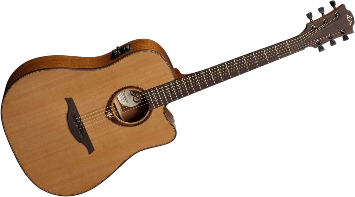 Acoustic/Electric Guitar with Dreadnought Cutaway, Solid Red Cedar Top, Dark Mahogany Back & Sides, and Satin Finish