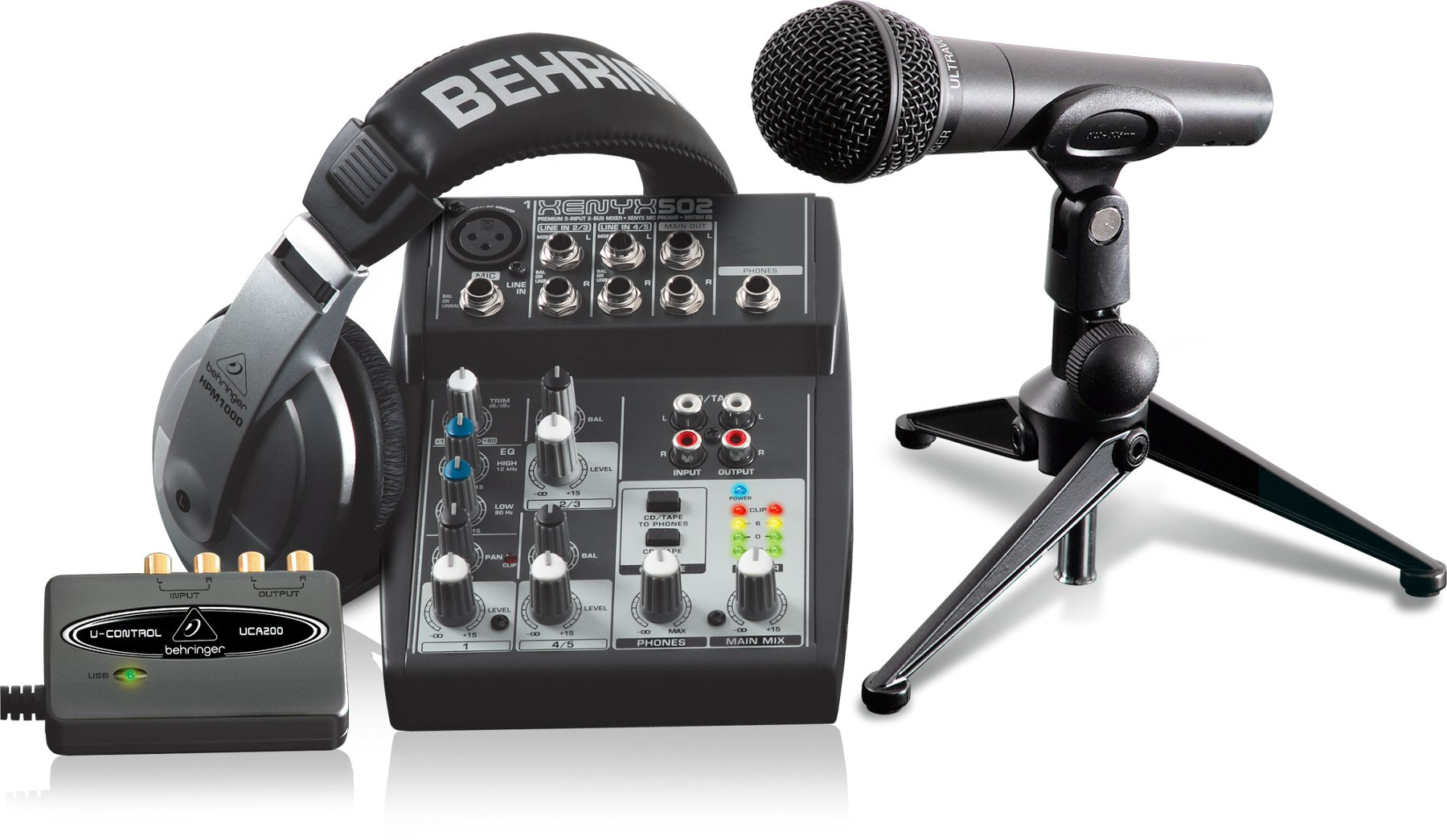 behringer podcaststudio usb podcasting bundle with mic mixer headphones usb interface full. Black Bedroom Furniture Sets. Home Design Ideas