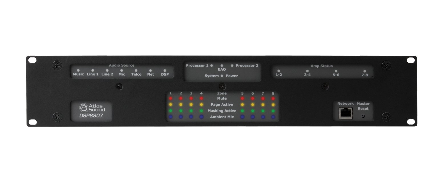 Self Contained, Multi-Zone Digital Controlled Networkable Sound Masking Processor and 8-Channel Amplifier