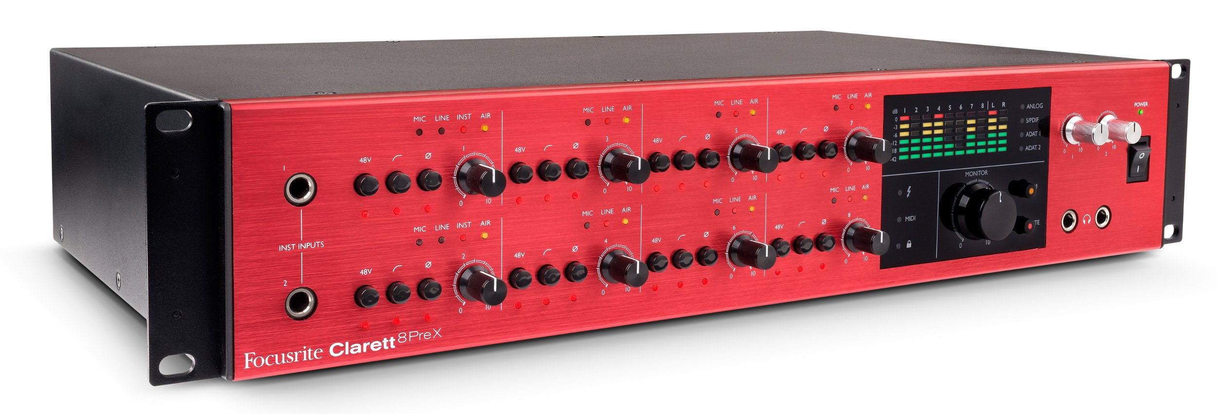 26 In / 28 Out Thunderbolt Interface with 8 Clarett Microphone Preamps and Extended I/O