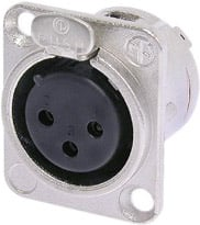 3-Pin XLR-F Locking Chassis Connector with Nickel Housing and Solder Cups