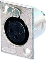 Neutrik NC3FP-1 3-Pin Female XLR Rectangular Panel Connector, Nickel NC3FP-1