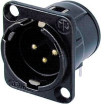 3-pin Male XLR Square Panel Receptacle, Horizontal PCB Mount, Black, Gold Contacts