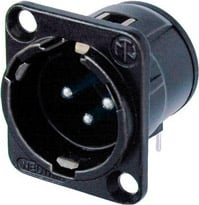3-pin Male XLR Square Panel Receptacle, Horizontal PCB Mount, Black, Silver Contacts