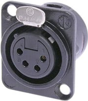 4-Pin Female XLR Panel Receptacle, Black, Silver Contacts
