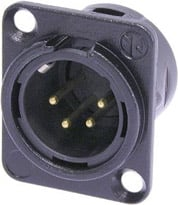 4-pin Male XLR Panel Connector, Black, Gold Contacts