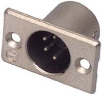 4-Pin Male XLR Rectangular Panel Connector, Nickel