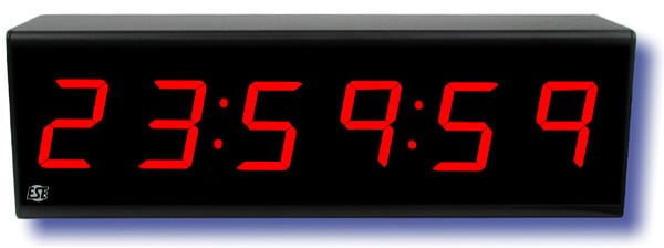 6-Digit Time Code Display Clock with Black Anodized Front Panel and 3-Wire Line Cord