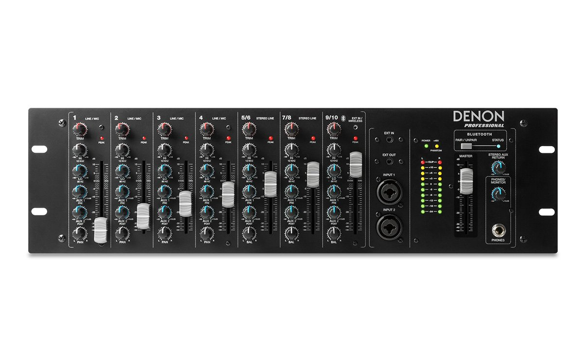 10-Channel Rackmount Mixer with Bluetooth