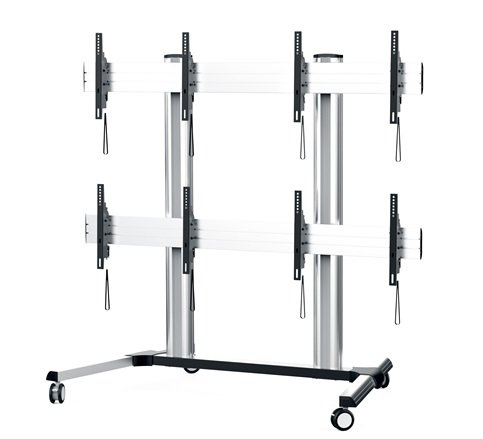 DisplayStation Cart with Wall, 600VESA, 2X2 and Casters, ALU