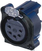 5-pin Female XLR Connector, Vertical PCB Mount, Black