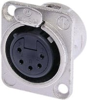 Neutrik NC5FDL-1 5-Pin XLR-F Panel Receptacle, Nickel Housing NC5FDL-1