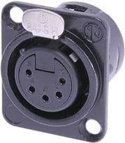5-Pin Black XLR-F Panel Receptacle with Gold Contacts