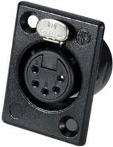 5-Pin XLR Female Rectangular Panel Connector (Black, Silver Contacts)