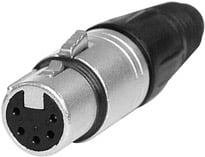 5-pin Female XLR Cable Connector, Nickel