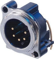 5-pin Male XLR Panel Receptacle, Horizontal PCB Mount
