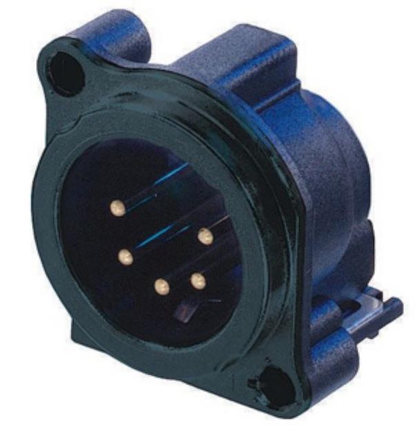 5-pin Male XLR Panel Receptacle, Black, Vertical PCB Mount