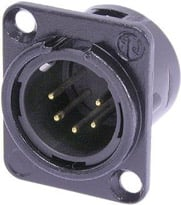 5-pin Male XLR Panel Receptacle, Black, Gold Contacts