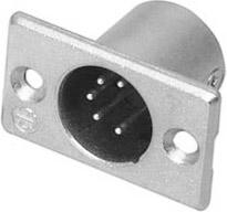 5-pin Male XLR Rectangular Panel Connector, Nickel