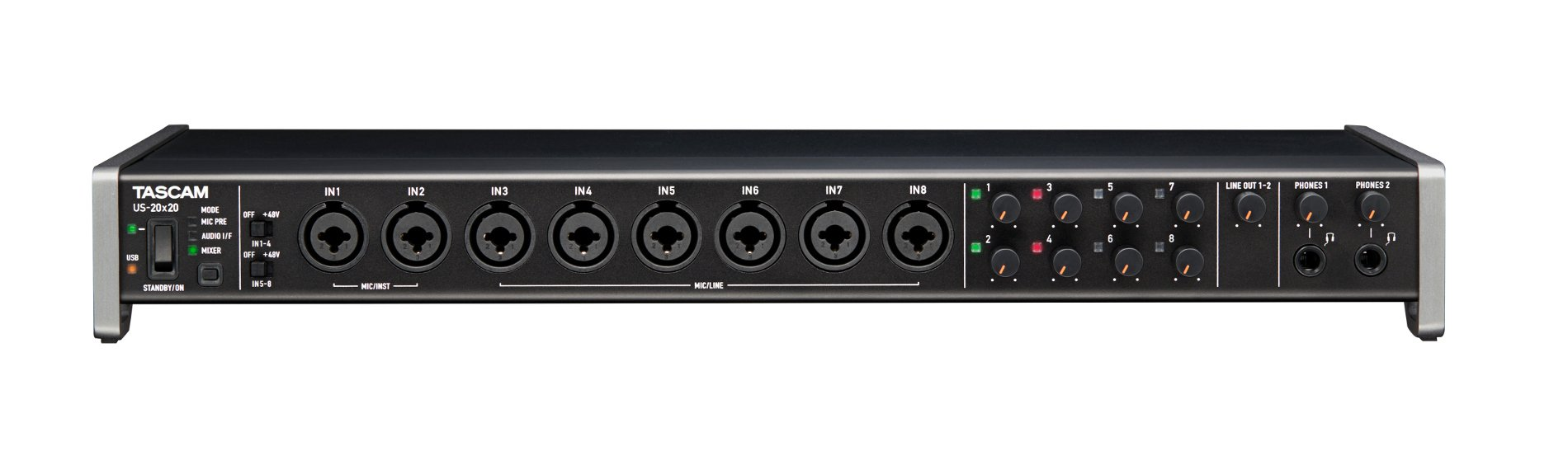 tascam us 20x20 20x20 celesonic usb 3 0 2 0 audio interface and digital mixer full compass. Black Bedroom Furniture Sets. Home Design Ideas