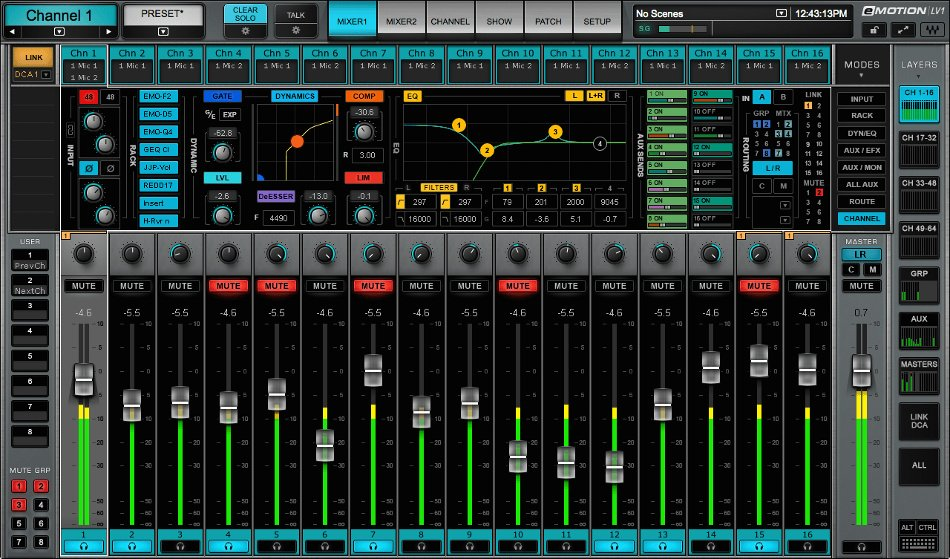 32 Channel Live Mixer with Full eMO D5 Dynamics