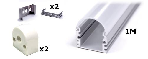 1 Meter Aluminum Extrusion Type U Diffuser