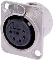 6-pin Female XLR Panel Receptacle, Nickel