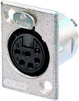 6-Pin Female XLR Rectangular Panel Connector, Nickel