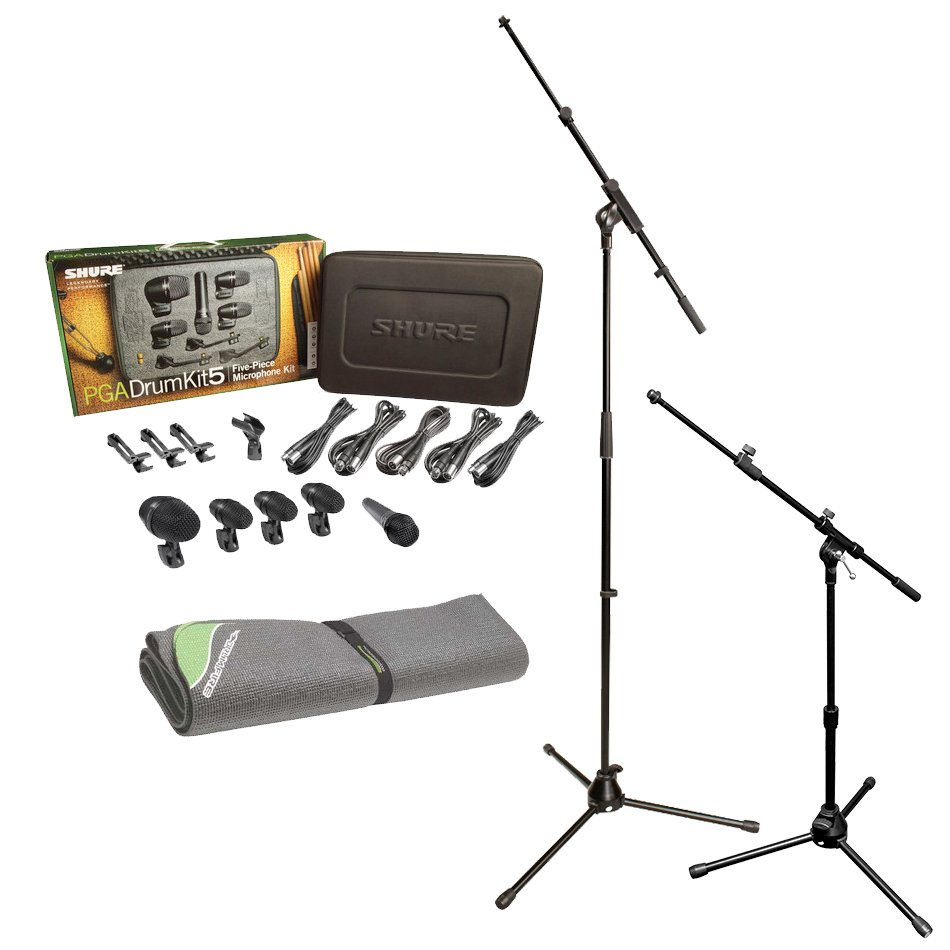 Drum Microphone Bundle with Shure PGADRUMKIT5 Microphone KIt and Accessories