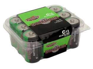 Workaholic Alkaline C Batteries, 12 Pack