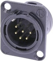 Neutrik NC6MDL-B-1 6-pin Male XLR Panel Receptacle, Black, Gold Contacts NC6MDL-B-1