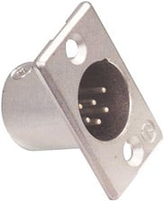 Neutrik NC6MP 6-Pin XLR Male Rectangular Panel Connector, Nickel NC6MP