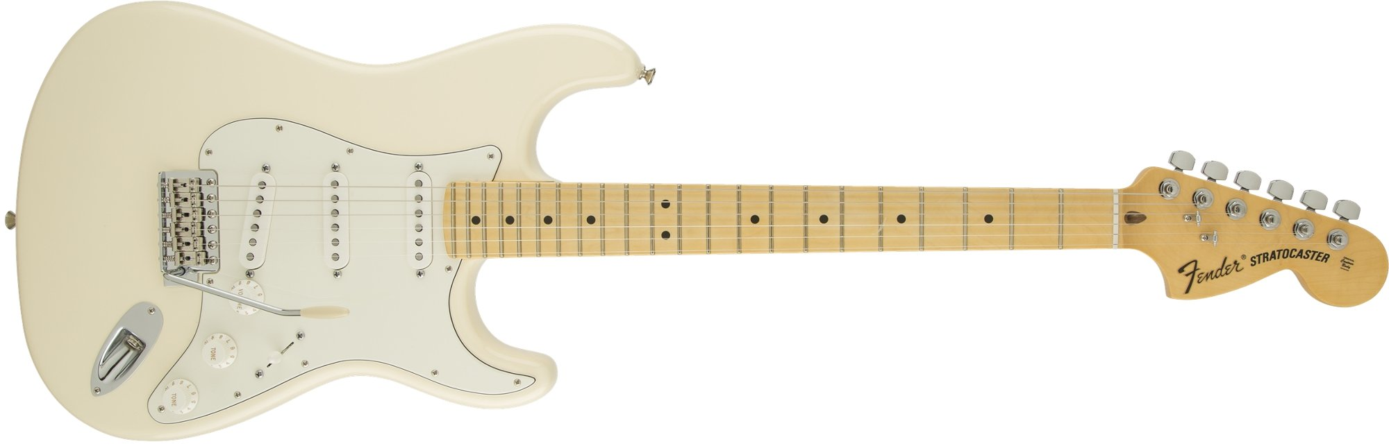 Electric Guitar with SSS Pickup Configuration in Olympic White with Maple Fingerboard