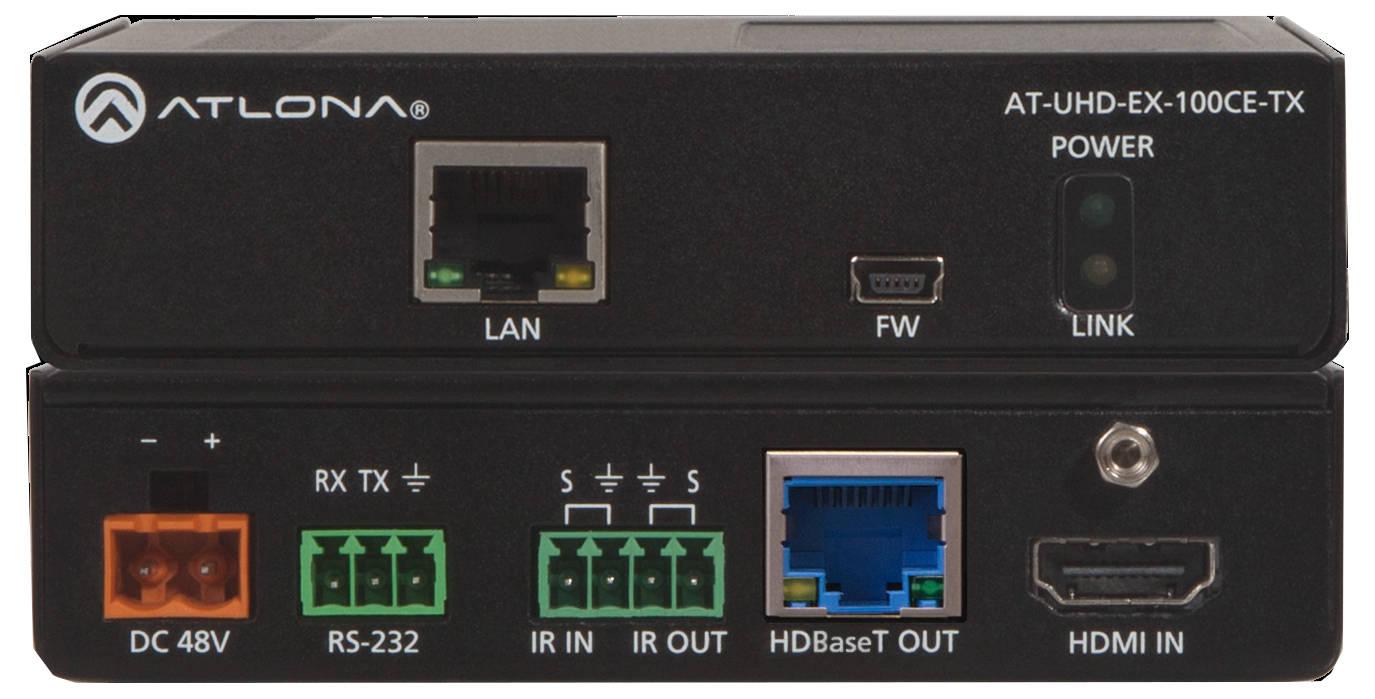 Atlona Technologies 4L/UHD HDBaseT Transmitter/Receiver 328ft (100m) HDBaseT Transmitter/Receiver with Ethernet, Control, and PoE AT-UHD-EX-100CE-KIT