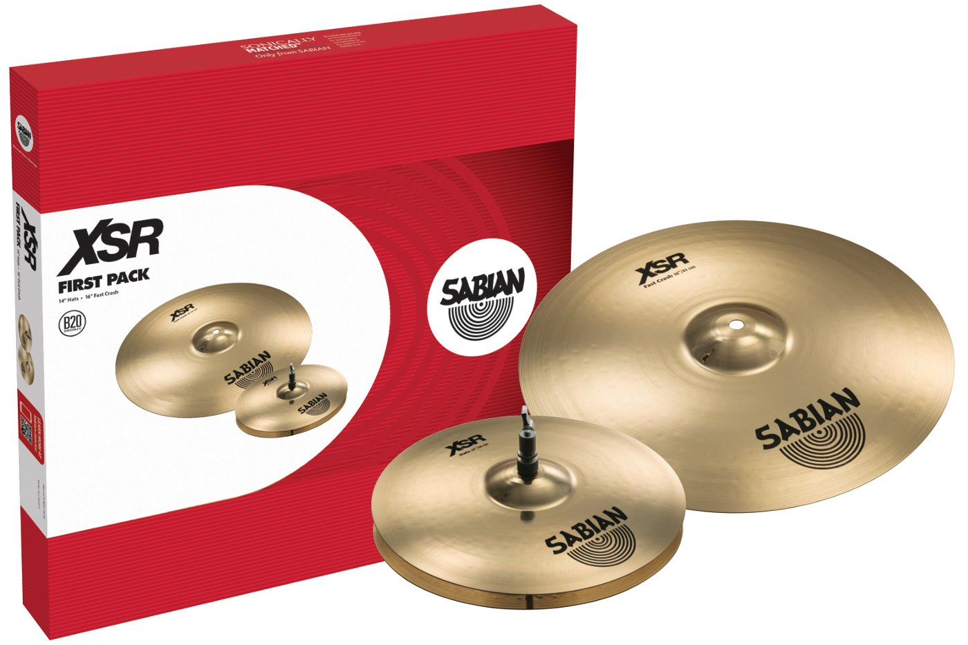 "Sabian XSR First Pack Cymbal Pack with 14"" XSR Hats, 16"" XSR Fast Crash XSR5011B"