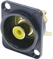 Yellow Female RCA Panel Connector, Black