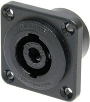 4-pin Male Speakon Chassis Connector, Black