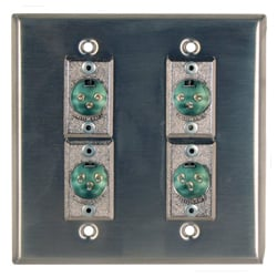 RapcoHorizon Music DBA-4DFN Anodized Double Gang Wall Plate in Black with 4 Neutrik NC3FD-L-1 Connectors DBA-4DFN