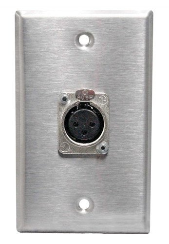 Black Anodized Single-Gang Wall Plate with Neutrik XLRM Connector
