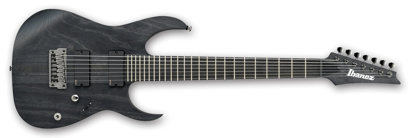 Iron Label 7-String HH Electric Guitar in Transparent Gray Flat Finish