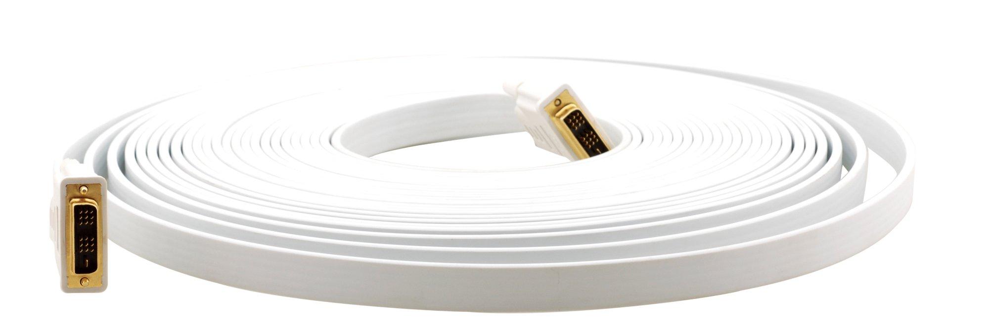 DVI (M)-DVI (M) Flat White Cable, 10 ft