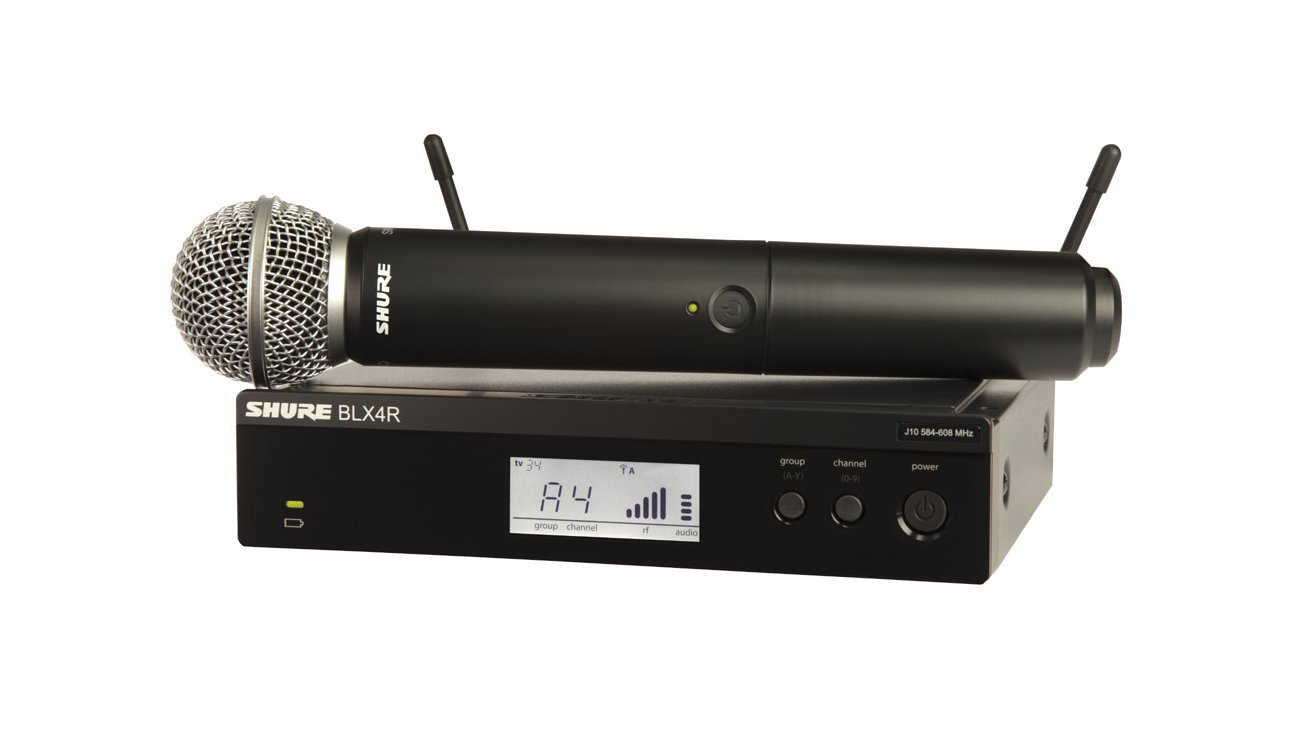 Wireless Rackmount System with SM58 Handheld Microphone Transmitter, H9: 512-542 MHz