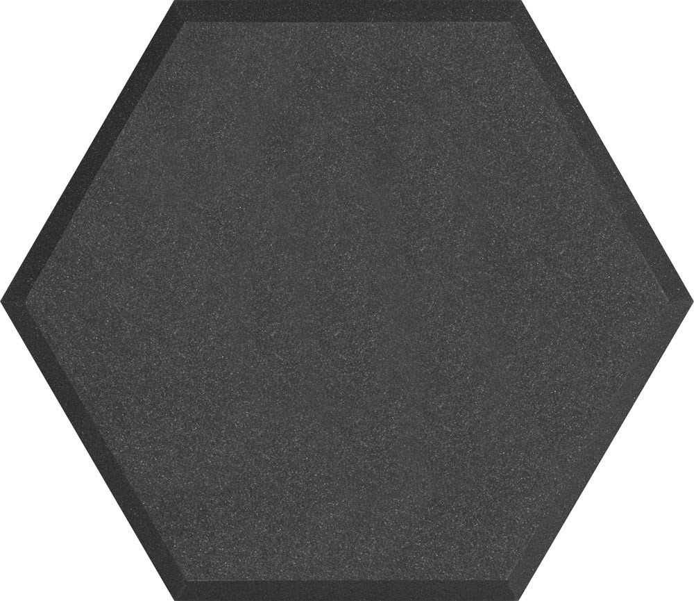 "24"" Hex Series Hexagonal Foam Wall Panel in Charcoal Without Vinyl Covering"