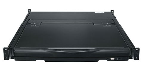 """1RU Rackmount Console with 17"""" HD Display, Keyboard, Touchpad, and 8-Port KVM"""