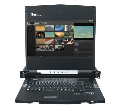 "1RU Rackmount Console with 17"" HD Display, Keyboard, Touchpad, and 8-Port KVM"