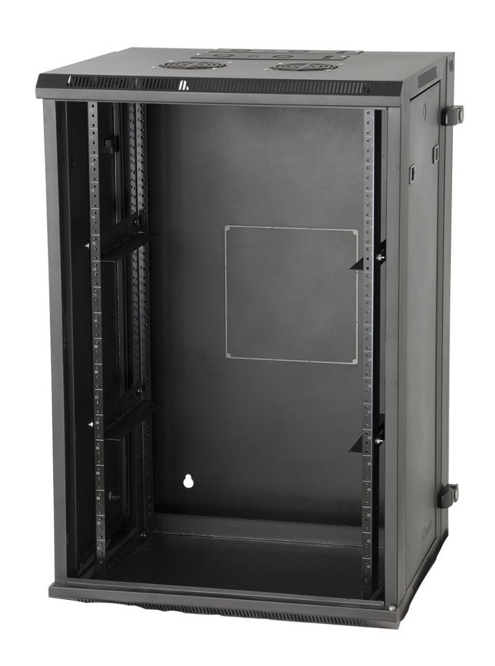 "12RU 21"" Hinged Wall-Mounted Rack with Steel Front Door"