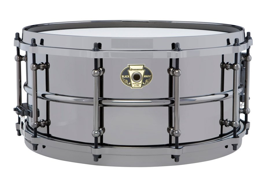 "6.5""x14"" Brass Shell Snare with Black Nickel over Brass Finish, Chrome Hardware"