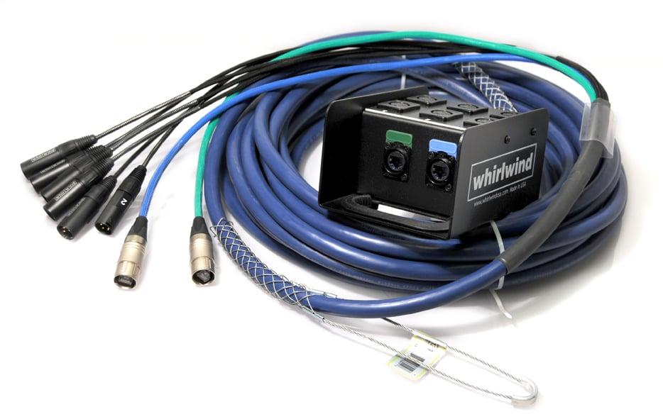 Medusa Data Snake with 4 XLRM Inputs, 4 XLRF Returns, 2 CAT5E On Fan, 200 ft